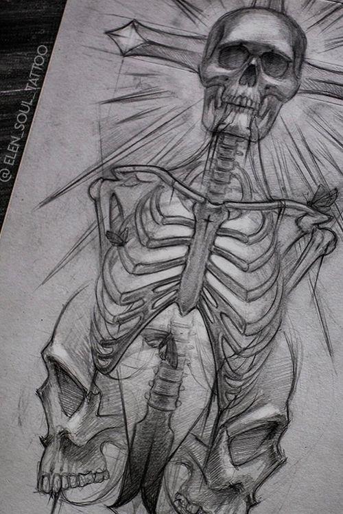 #elensoul #elensoulArt #skull #cross #tattoo_sketch