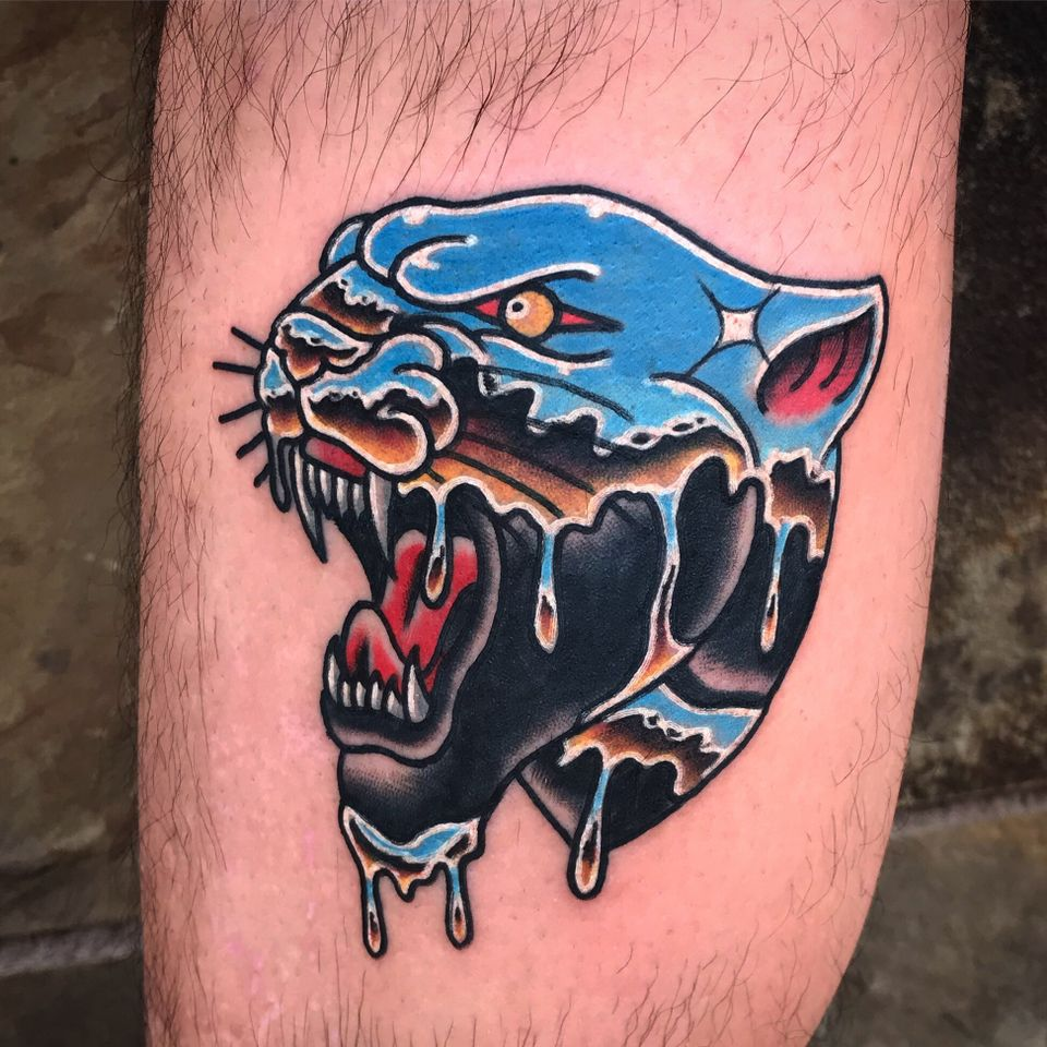 Tattoo by Chazz Hysell #ChazzHysell #traditional #color #chrome #panther #traditional #color