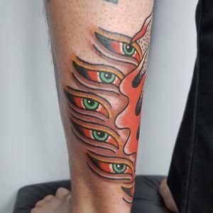 Tattoo by Piettro Torchio #PiettroTorchio #traditional #color #surreal #thirdeye #buddhaeye #fire