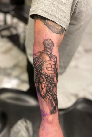 Hercules fighting Hades dogs as part of and on going Greek sleeve