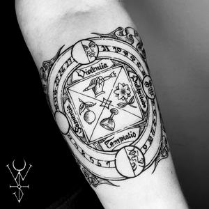"""The Great Wheel"" 🗡 . . . #blackwork #engraving #alchemy #engravingtattoo #woodcut #compass #etching #woodcuttattoos #illustration #occult #woodcuttattoo #tarottattoo #medieval #medievaltattoo #magick #gothic #witchcraft #heathen #medievalism #onlythedarkest #blacktattooing #btattooing #NYC #brooklyn"