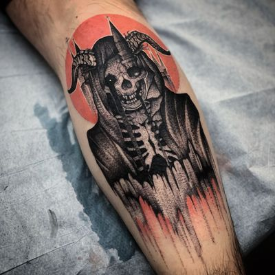 Demon reaper tattoo by Nate Silverii aka hungryhearttattoos #NateSilverii #hungryhearttattos #demon #devil #reaper #illustrative #horns #skull #skeleton