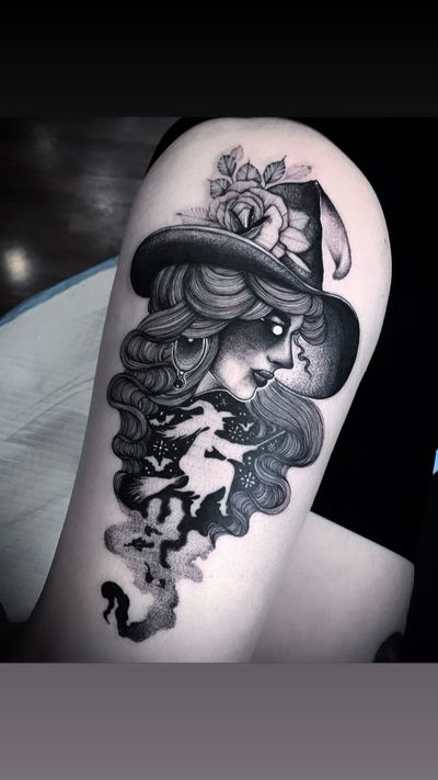 Witch tattoo by Nate Silverii aka hungryhearttattoos #NateSilverii #hungryhearttattos #witch #floral #broom #flying #sky #witchhat #illustrative #ladyhead #portrait