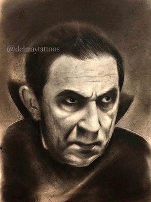 Bella Lugosi as Dracula original charcoal portrait