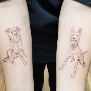 Fine line dog portraits