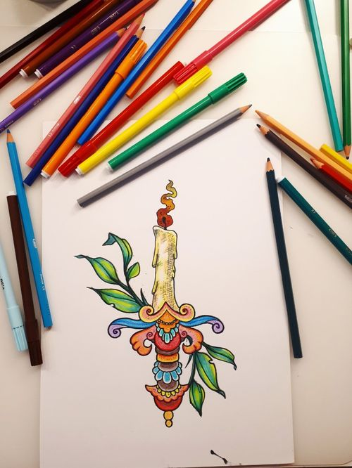 I guess this is a candledagger.... #myinkprints2020 #tattooworkers #tattoonewbie #tattoolifestyle #practice #learningtotattoo #daretochange #daretobedifferent #wannatattoo #wip #newtattoos #readyforwork #inkstagram #tattoodesign #candletattoo #daggertattoo #colorfullife #colorfulltattoo #drawing