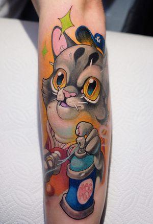 cat tattoo by Cayo Kun #CayoKun #cat #spraypaint #graffiti #newschool #kitty #cartoon