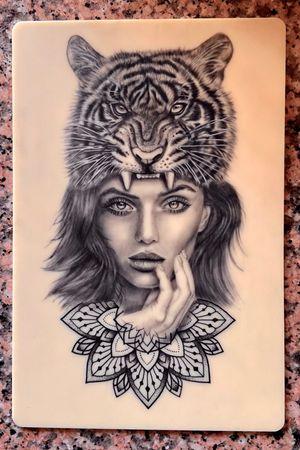 IG: @yleniaattard #customdesign #blackandgreytattoo #tattooapprentice #realistictattoo #tigertattoo #portraittattoo