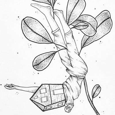 #drawing #fineline #dotwork #people #plant #botanical #casinha