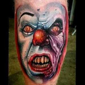IT.... made this pennywise tattoo & had a lot of fun DOIN IT《 we all float down here 》 #Pennywise #clowntattoo #adamnormand