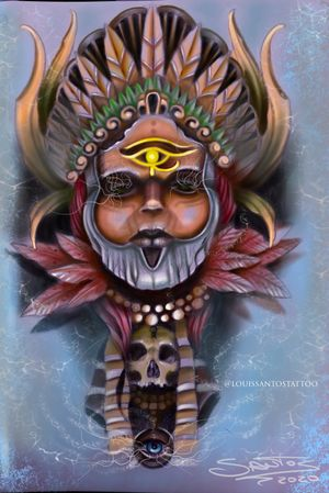 Indian Tribe Digital Portrait