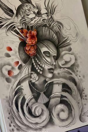 Geisha and Dragon Sketch