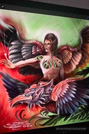 Fantasy Angel riding a fantasy dragon. #fantasytattoo #tattooart #tattooidea #dragon #angel #angelwings