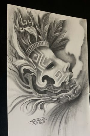 Indian mask, graphite on paper