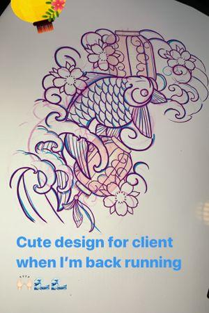 Ginko fish half sleeve design