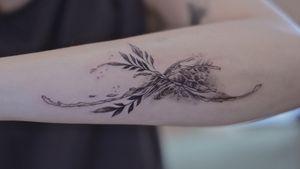 Plants & water splash tattoo by Lesine.co @le.sinex . Fineline . Blackwork