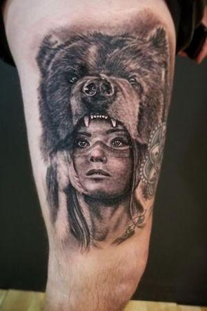 Aybar813 on instagram The Ink Gallery. Slippery Rock, PA #nativeamericangirl #bear #beartattoo #worrior #blackandgrey #realism #realistic