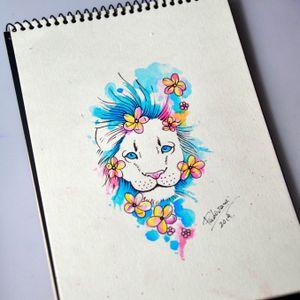 #liontattoo #leaotattoo #lion #leao #watercolortattoo #aquarelatattoo #thiagopadovani