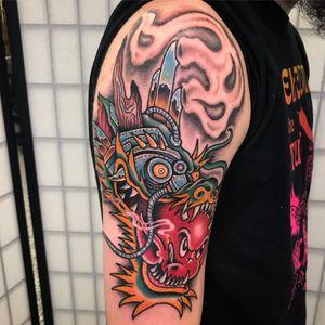 Cyborg dragon, hot stuff, joint smokin weirdness!! Tattoo by Chazz Hysell #ChazzHysell #traditional #surreal #mashup