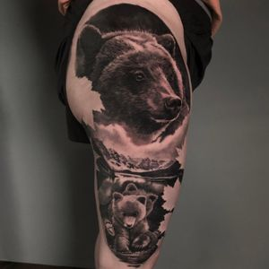 Canada's Grizzly bears leg tattoo in black and grey realism, London, UK   #bestrealistictattoos #portraitattoos #animaltattoos #beartattoos #legtattoos #blackandgreytattoos