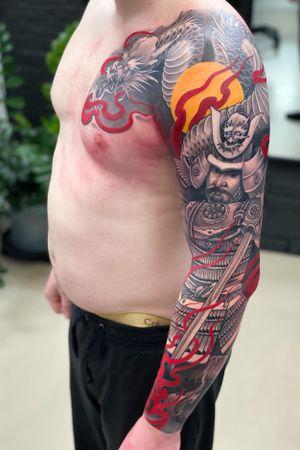 Dragon & Samurai sleeve #tattoodo #killerinktattoo #japaneseink #inkjecta #inkjectapro #wearesorrymom #japanesetattoo #japanesetattooart #irezumi #irezumiart #irezumitattoo #tattoo_composition #tattoo_art_worldwide