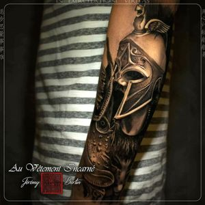 Spartiate with my ink set, in black and brown. #tattoo #tatouage #tatouagerealiste #realistic #realism #blackandbrown #warrior