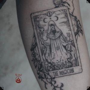 THE MAGICIAN Because she is the magician.  . . ❦ Original artwork.  👹PLEASE DO NOT COPY - beware of the rage of Tengu👺  . ❦ Every design is unique and being tattooed only once.  . ❦ #tattoo #tattoohamburg  #tattooartist #tatouage #入れ墨 #tätowierer #tattooist  #tattooart #illustrativetattoo #tarotcardtattoo #tarottattoo #tarot #tarotcard #tarotthemagician #reiinku #themagician #magic #fortune #witchcraft #witchtattoo #magictattoo #finelinetattoo #originalartwork #art #blackworkers #blackink #blkttt