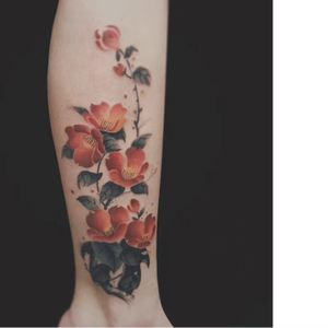 Floral tattoo by Moon #Moon #flower #floral #watercolor #painterly #nature