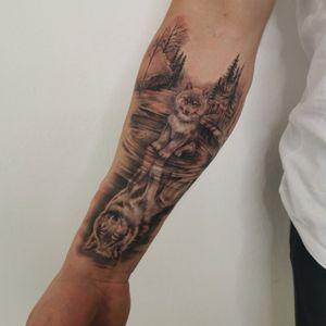 Wolf in the Woods #wolf #tattoodo #tattooWolf #wolftattoo