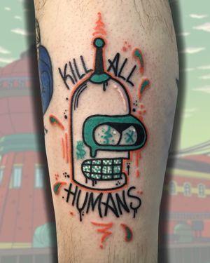 Trippy tattoo by Cosmo Cam #CosmoCam #trippy #surreal #weird #unique #color #psychedelic #cartoon #newschool #popculture #futurama #robot
