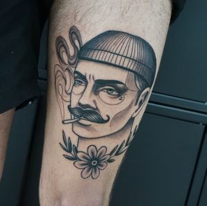 Tattoo by Saphira Borden #SaphiraBorden #neotraditional #portrait #blackandgrey #smoke #cigarette #flower