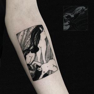 Modified, re-framed and inked Klimt's Fish Blood 🐠 #customtattoo #tattoo #art #tattoodesign #tattooideas #tattooer #tattooist #berlintattooartist #berlintattooers #neukölln #tattooed #inked #change #gustavklimt #klimt #fischblut #fishblood #framed #blackwork #blackworkers #blackouttattoo #blacktattoo #drawing #artworktattoo #klimttattoo #underarmtattoo #details #women #nude #fishtattoo