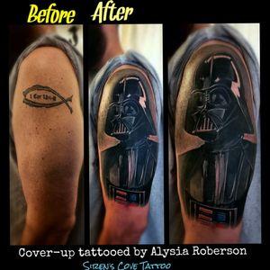 Cover-up tattoo with Darth Vader from Star Wars tattooed by one of SC best tattoo artists, Alysia Roberson, at Siren's Cove Tattoo in South Carolina! #maytheforcebewithyou #starwars #galaxytattoos #starwarstattoo #realistictattoo #galaxytattoo #CoverUpTattoos #coverupdreams #coveruptattoo #darthvadertattoo #vadertattoo #darthvader #tattoos #jesus #maythefourthbewithyou #maythe4thbewithyou #maythe4thbewithyoutattoo #tattooedwoman #disney #disneytattoo #tattooedman #iamyourfather #portraittattoo #darthmaul #revengeofthesith #themandalorian #quarentine #COVID19 #vader #halfsleeve #sleevetattoo #theempirestrikesback #sleeve #returnofthejedi #clemson #greenville #attackoftheclones #blackandgrey #portrait #portraittattoo #realism #realisticportrait #RealismTattoos #theriseofskywalker #thephantommenace #rogueone www.facebook.com/Alysia.Roberson.Tattoo.Artist wwww.facebook.com/sirens_cove_tattoo IG: @sirens_cove_tattoo
