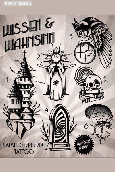 Wannado flashset by satanischepferde #blackwork #blacktraditional #traditional #traditionaltattoo #wannado #erfurt #flashset #blackandgrey #skull #owl #dark #occult