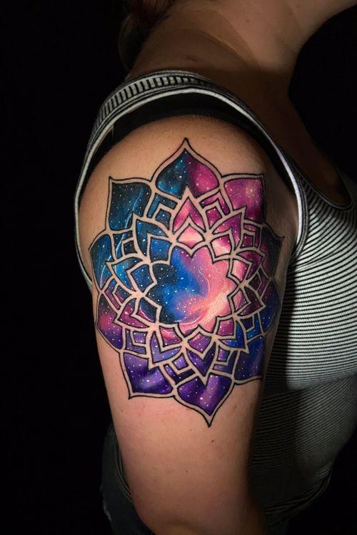 Super fun mandala galaxy tattoo. Dm me for any questions or bookings.                                                               #mandala #galaxy #galaxytattoo #mandalatattoo #fusionink #tattooartist #tattoo #ink #colortattoo