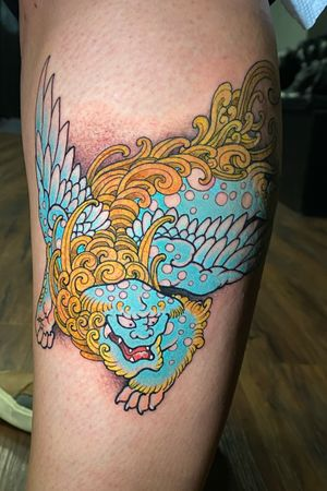 Winged foo dog. Love tattooing stuff like this!