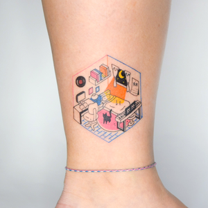 Illustrative tattoo by moraetattoolover #moraetattoolover #illustrative #cat #bedroom #stilllife #moon #cute