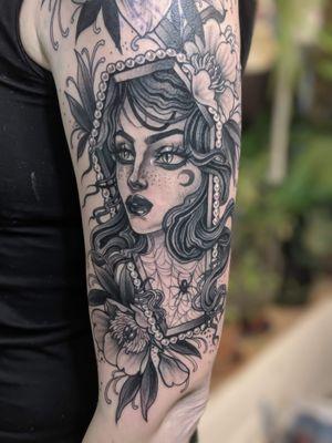 Portrait tattoo by Moth Miranda #MothMiranda #blackandgrey #neotraditional #coffin #lady #ladyhead #portrait #spider #spiderweb #flowers #moon
