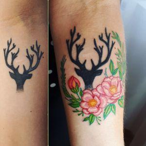 #myinkprints2020 #flowertattoo #floral #deer