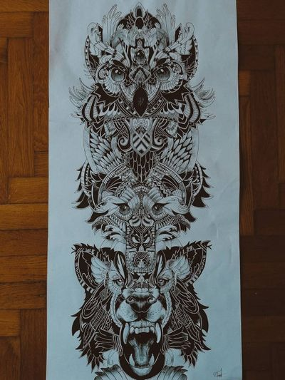 #animaltattoo #wolf #fox #owl #totem #tattooart #tattooideas #tattooblack #blackAndWhite #unipin #freetimesketches