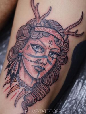 Nordic Shaman Girl by Khimz #khimztattooer #traditionaltattoo #traditional #sirena #tattooartist #Tattoodo #skinartmag #skinart