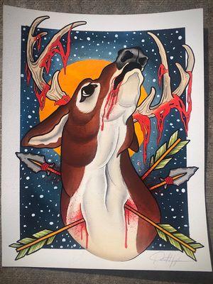 Commissioned deer paintings