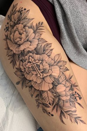 cross and rose tattoo by hungry heart tattoos #hungryhearttattoos #rose #flower #cross #illustrative