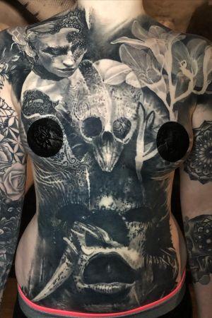 Fully healed cover up on friend & fellow artist Emma #tattoo #darkart
