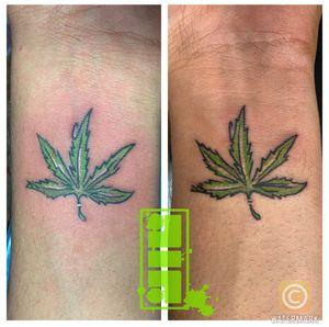 #weedtattoo #leaftattoo #justblaze #smalltattoo #wristtattoo #customdesigns #byjncustoms