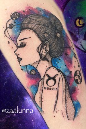 Galaxy Girl Tattoo 🌍💫🌙🌌 Book your tattoo: +351 913 162 583 👽 Whatsapp .nocopy. Zaalunna@icloud.com  DM 📩📩 #tattoo #sketchtattoo #tattoogeek #galaxytattoo #planettattoo #tattooidea #mystic #mystictattoo #lion #galaxytattoo #tattooideas #watercolortattoo #signos #tattoosignos #taurus #planets  #ink #watercolor @ Almada, Portugal