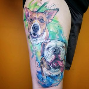 The 2 previous portraits combined. . . . . #dog #dogtattoos #dogtattoo #puppyportrait #dogportrait #watercolor #watercolortattoo #watercolorattoos #watercolourtattoo #watercolour #watercolourtattoos #thightattoo #thightattoos