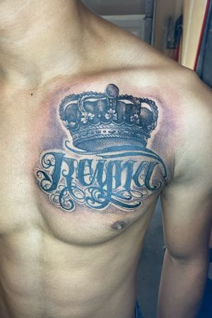 Added a crown to these old letters( not mine) and reworked the whole tattoo