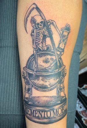 #blackandgrey #momentomori #skeleton #skull #globe #legacyartstattoo #dallastattooer #dallastattooartist