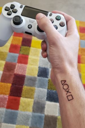 The world is in play! Playstation buttons #playstation #PlayStationTattoos #ps4 #ps3 #ps2 #ps1